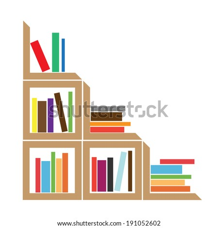 bookshelf flat vector illustration - stock vector