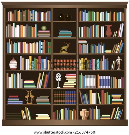Bookshelfvector Background Stock Vector 216374758