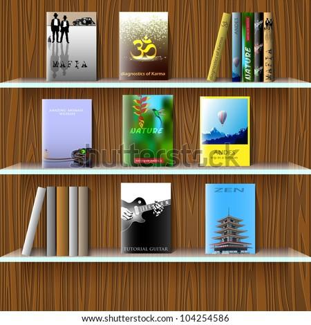 Bookshelf with books. Vector eps10 - stock vector