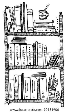 bookshelves - stock vector