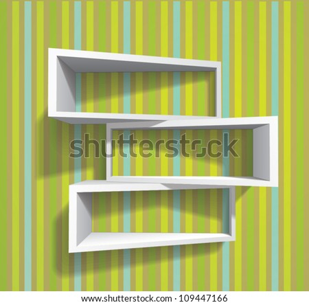 bookshelves (shadows are transparent so shelves can be applied to any background) - stock vector