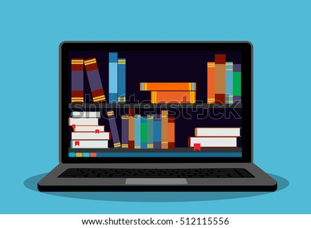 Bookshelves with books on laptop screen. Online digital library.   Modern concept for web banners, web sites. Creative flat design vector illustration