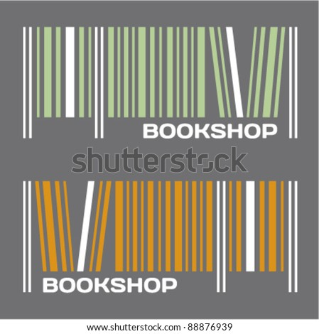 Bookshop, bookstore, barcode sign. - stock vector