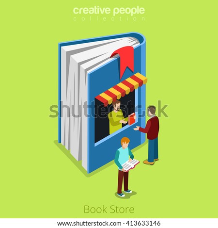 Bookstore book shape building shop realty real estate concept. Flat 3d isometry isometric style web site app icon set concept vector illustration. Creative people collection. - stock vector