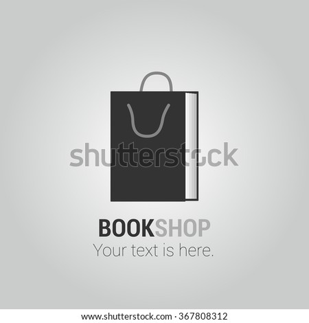Bookstore, bookshop, book shop vector logo, icon, symbol, emblem, sign. Design element with book as a shopping bag