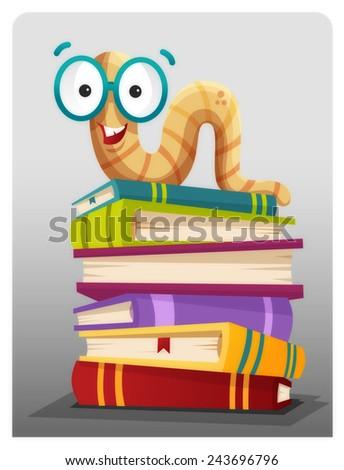 Bookworm - stock vector