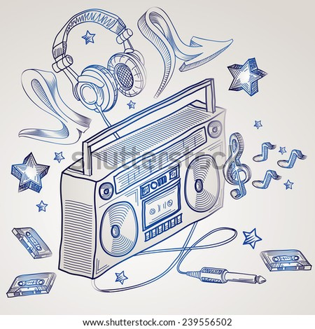 Boom box doodles design - stock vector