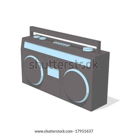 boom box (gray & blue object series) - stock vector
