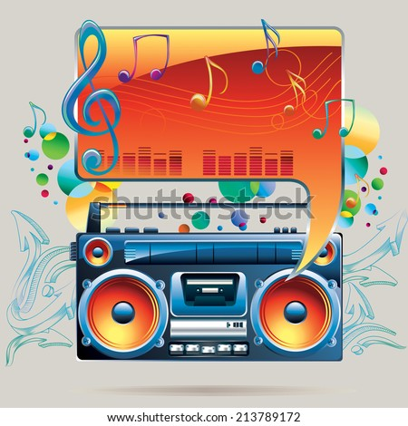 Boom box melody/music design - stock vector