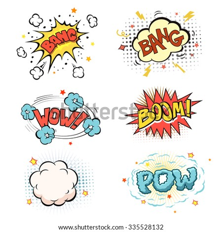 Boom. Comic book explosion and blast set vector - stock vector