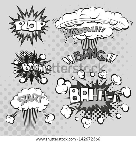 Boom. Comic book explosion set, vector illustration - stock vector