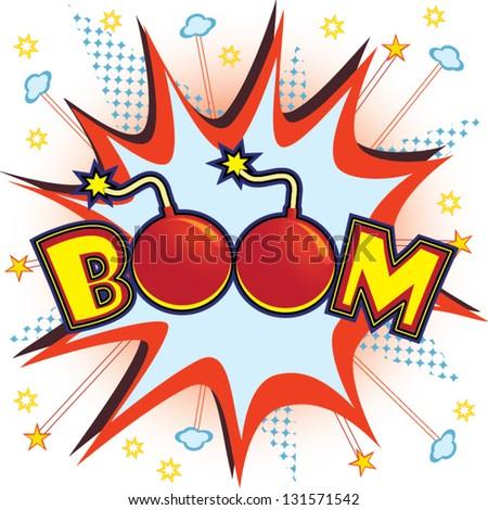Boom explosion vector - stock vector
