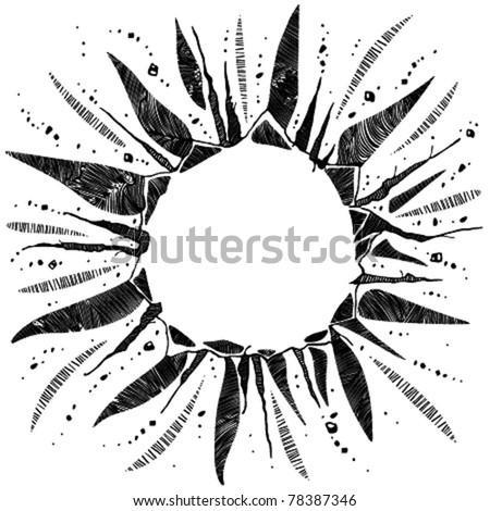 Boom image. Vector illustration of blast hole. Single black version drawing. - stock vector