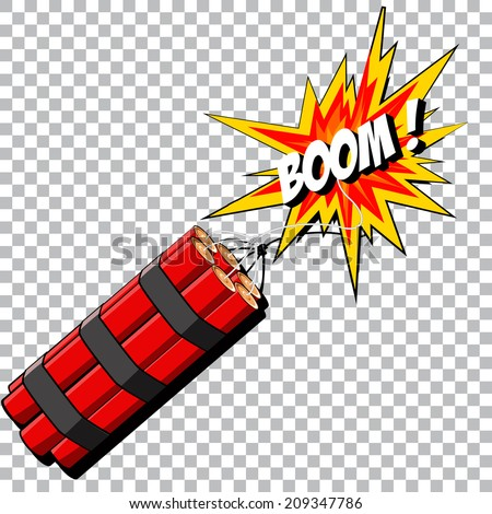Boom of the dynamite. Comic book explosion. Vector EPS 10 - stock vector