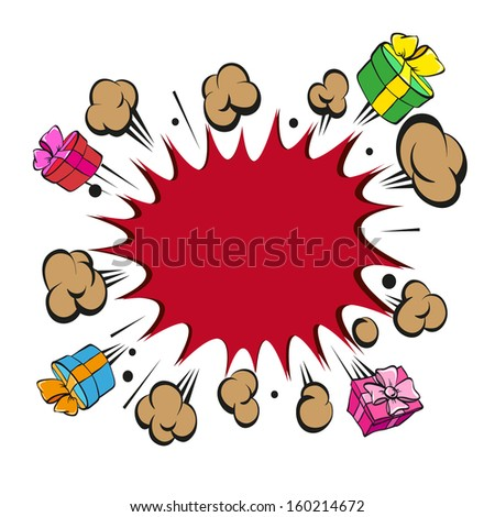 Boom presents surprise, vector illustration - stock vector