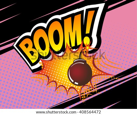 Boom! Vector Retro Comic Speech Bubble, Cartoon Comics Template. Mock-up of Comic Book Design Elements. Sound Effects, Colored Halftone Background. Boom bomb sound - stock vector