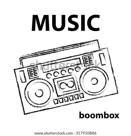 boombox vector drawing illustration retro sketch art - stock vector