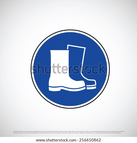 Boot foot wear safety icon - stock vector