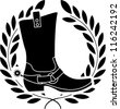 boot with spurs. stencil, vector illustration - stock vector
