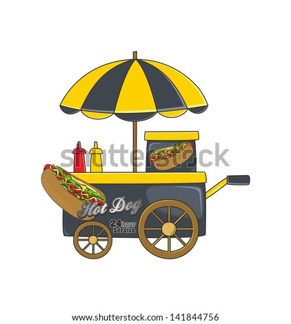 booth stand hot dog - stock vector