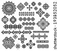 Border and decoration elements patterns in black and white colors. Most popular ethnic signsin one mega pack set collections. Vector illustrations