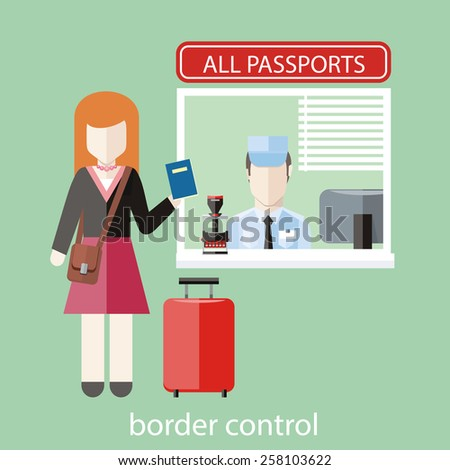 Border control concept in flat design. Woman gives a passport to check customs officers - stock vector