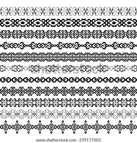 Border decoration elements patterns in black and white color. Most popular ethnic border in one mega pack set collections. Vector illustration.  - stock vector