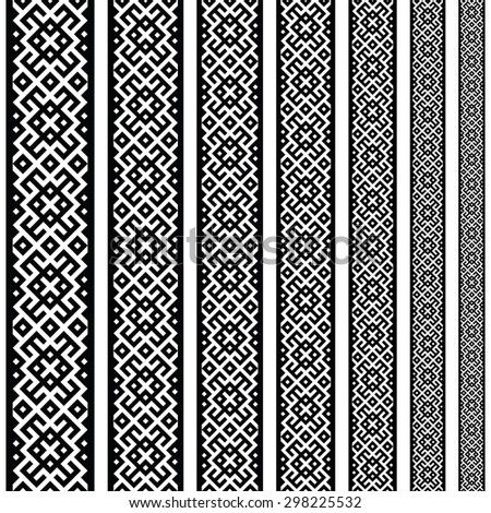 Border decoration elements patterns in black and white colors. Geometrical ethnic border in different sizes set collections. Vector illustrations. Can use as tattoos, frames, patterns, dividers - stock vector