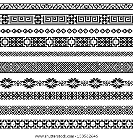 Border decoration elements patterns in black and white colors. Most popular ethnic border in one mega pack set collections 2. Vector illustrations. - stock vector