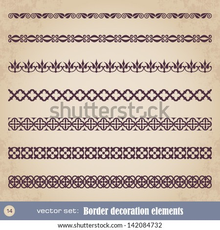Border decoration elements set 14 - stock vector