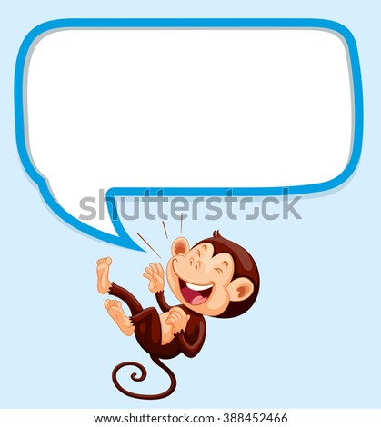 Border design with monkey laughing illustration - stock vector