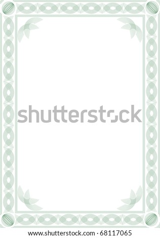 Border for blank diploma or certificate. Guilloche style. Format  A4. - stock vector