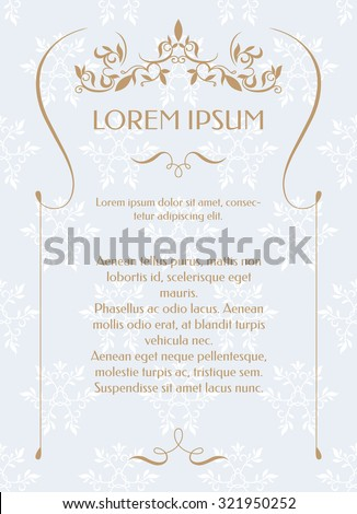 Border frame classic pattern template greeting stock vector border frame and classic pattern template for greeting cards invitations menus stopboris Images