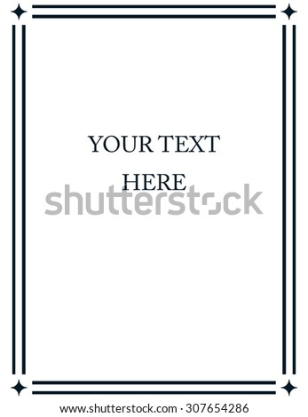 Border frame deco vector art simple line corner - stock vector