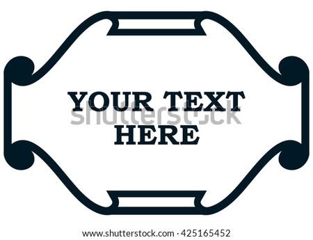 Border frame paper scroll line vector label - stock vector