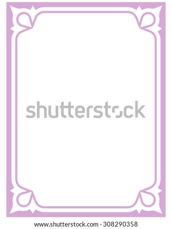 Border Frame Pink Purple Deco Vector Art Simple Line Corner