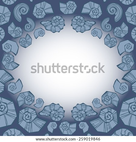 Border frame with summer beach shells. vector illustration