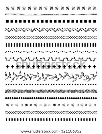 Border lines decorative elements set. Hand drawn vector sketch brushes - stock vector