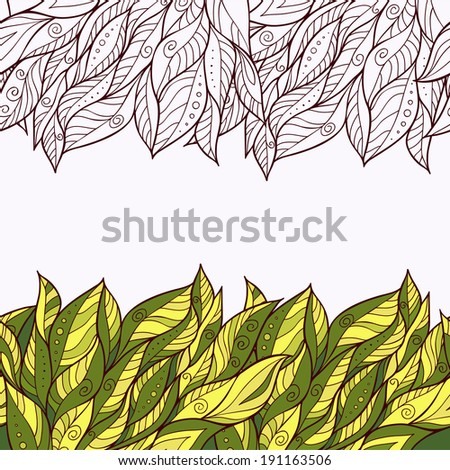 border of leaves. vector seamless pattern