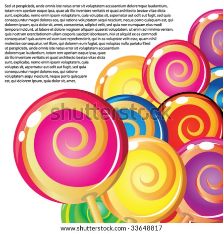 Border of lollipops. - stock vector