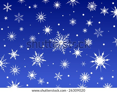 Border of snowflakes fading into a blue background - stock vector