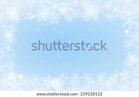 Border of various snowflakes on light background. - stock vector