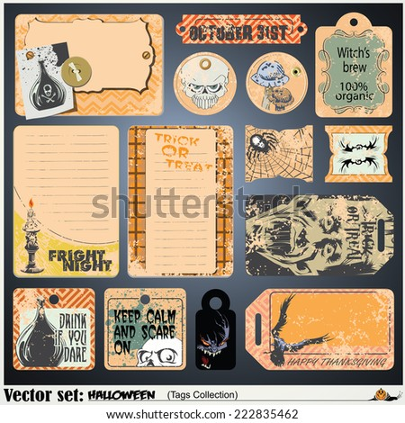 Border style labels on different topics for decoration and design on a theme of halloween