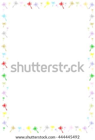 Border with dandelion seeds.  - stock vector
