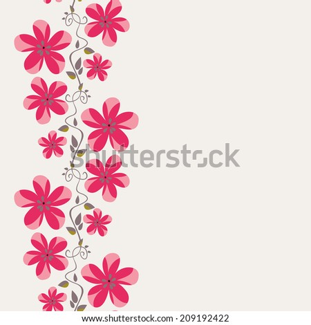 border with flowers blossom. vertical stripe. seamless pattern - stock vector