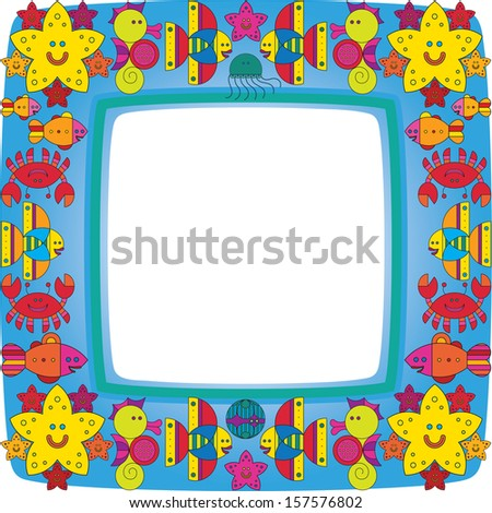 Border with stylize fantasy fish under water. - stock vector
