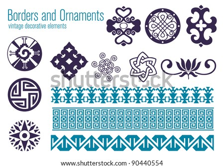Borders and Ornaments, vintage decorative elements - stock vector