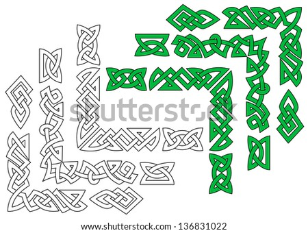 Borders and patterns in celtic ornament style for design and ornate ...