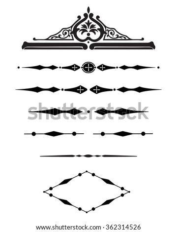 Borders decorative vignette elements set isolated on white for design. Vintage style. Vector illustration - stock vector