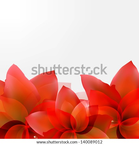 Borders Of Abstract Red Tulips With Gradient Mesh, Vector Illustration